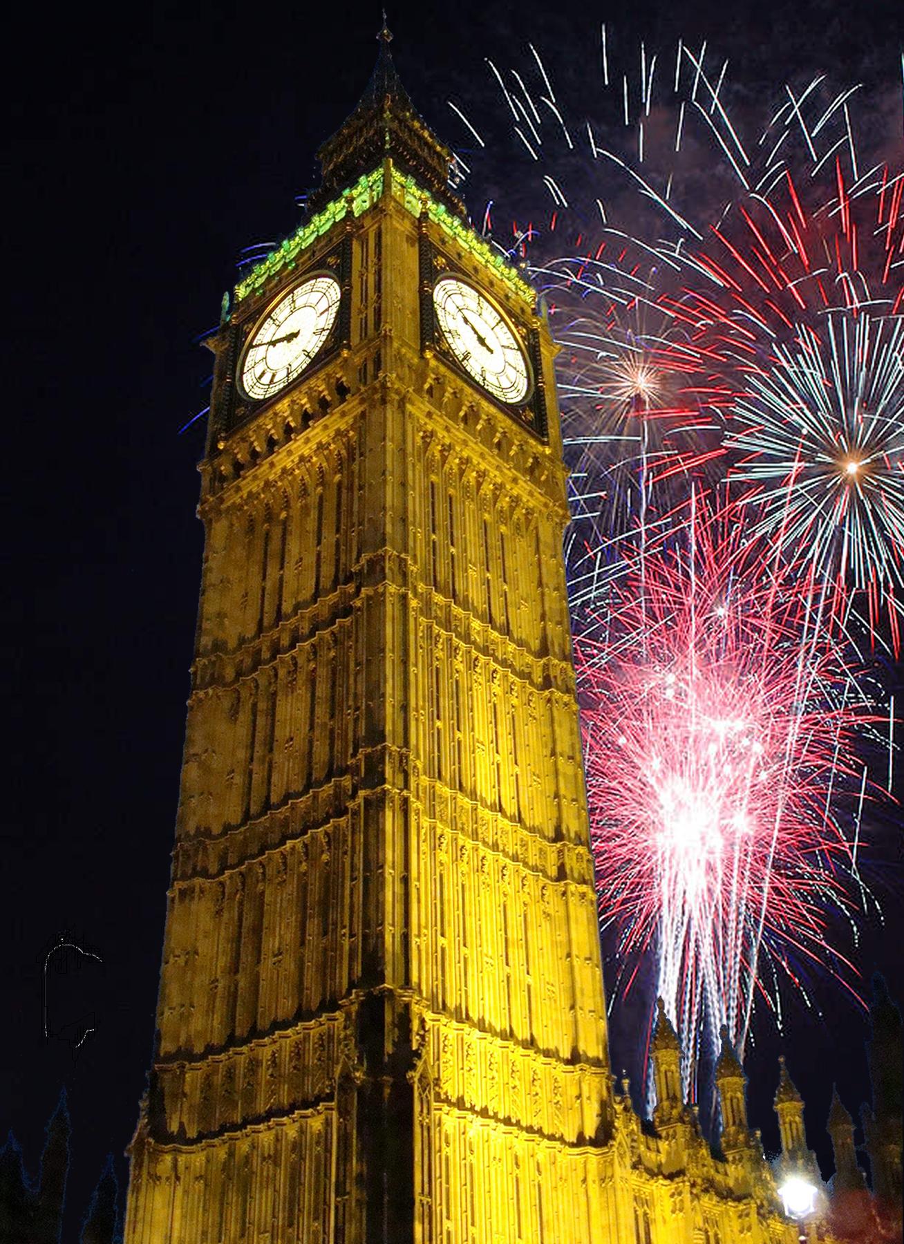 Big Ben im Silvester-Feuerwerk